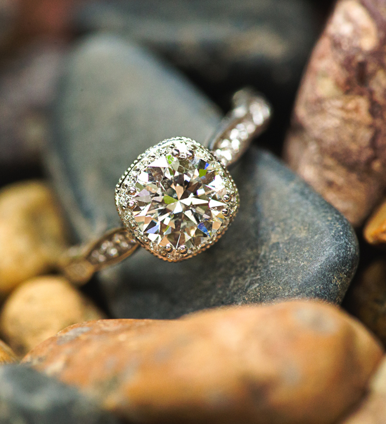 Engagement Ring from Todds Jewelers of Cleveland sitting on a stone